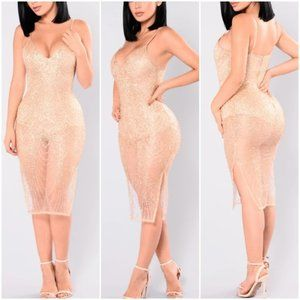 Fashion Nova Gold Glitter dress XL